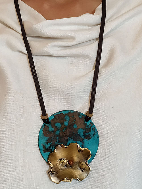 Turquoise Gold Brass and Copper Oxidised Necklace