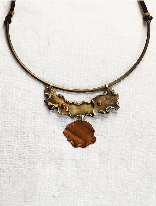 Gold Brass and Copper Oxidised Necklace