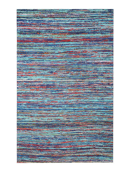 Blue Handwoven Silk and Cotton Dhurrie