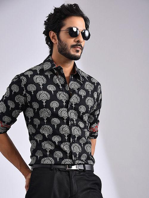Black-Multicolor Hand Block-printed Cotton Full Sleeve Shirt