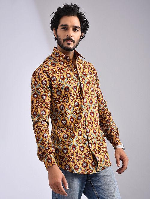 Yellow-Multicolor Hand Block-printed Cotton Full Sleeve Shirt