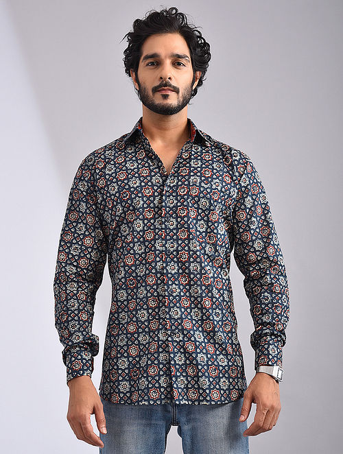 Blue-Multicolor Hand Block-printed Cotton Full Sleeve Shirt