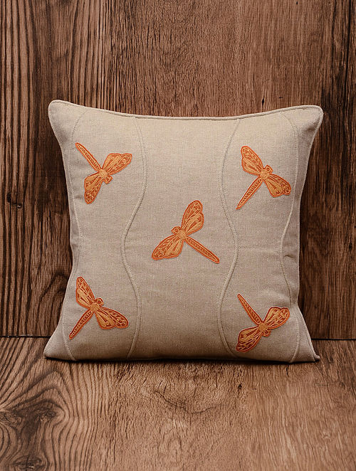 Orangfe Dragongfly Cotton Patch and Dori Embroidered Cushion Cover 16in x 16in