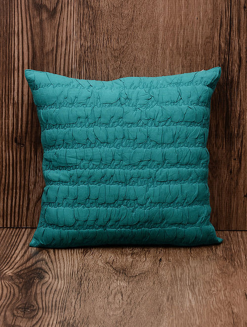 Teal Tounge Twister Cotton Gathered Cushion Cover 18in x 18in