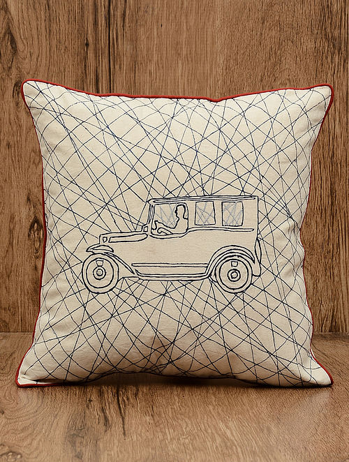 Off-White Retro Car Embroidered Cotton Cushion Cover 16in x 16in
