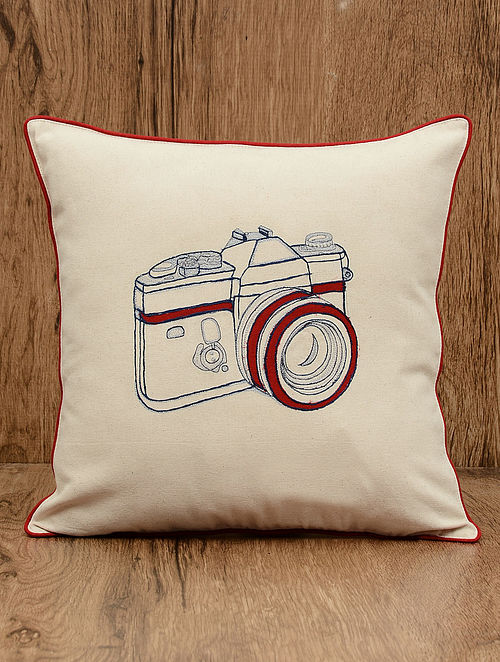 Off-White Camera Embroidered Cotton Cushion Cover 16in x 16in