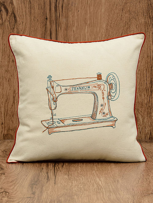 Off-White Sewing Machine Embroidered Cotton Cushion Cover 16in x 16in