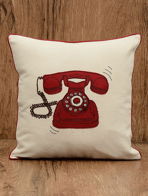 Off-White Telephone Embroidered Cotton Cushion Cover 16in x 16in