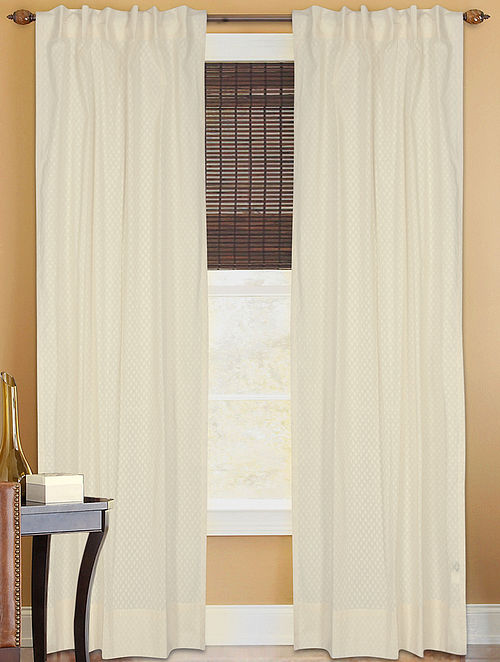 Dyed Sheer Curtain With Floral Buti Curtain