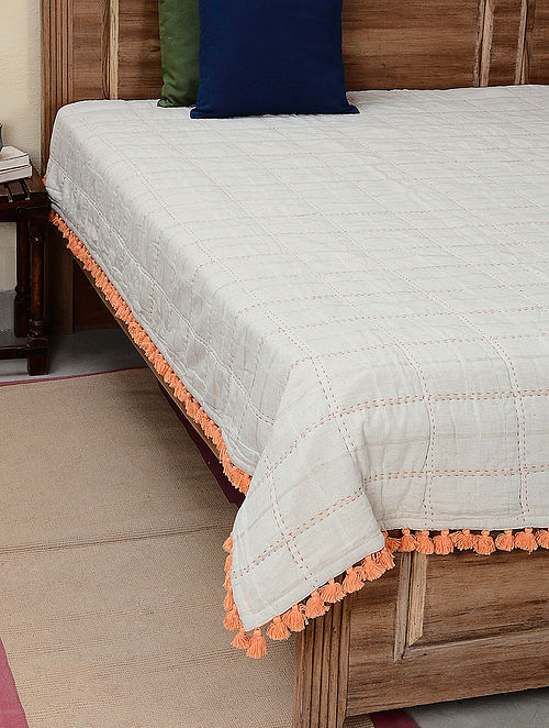 Palampore Ivory-Orange Checkered Quilted Cotton Flax Reversible Single Bedcover with Tassels