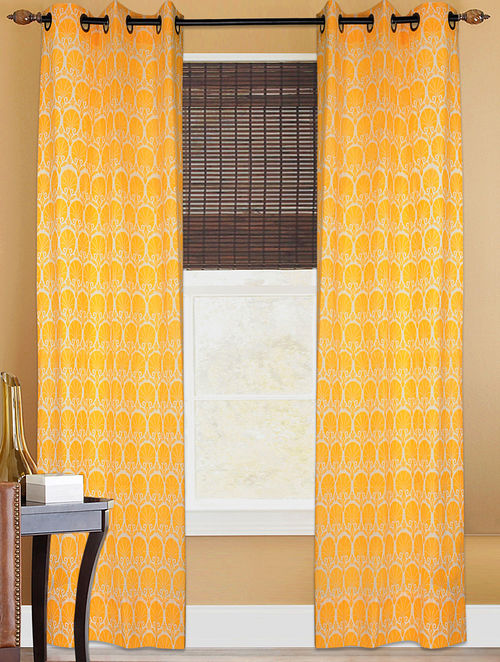 Pinjore Ivory-Yellow Printed Cotton Curtain