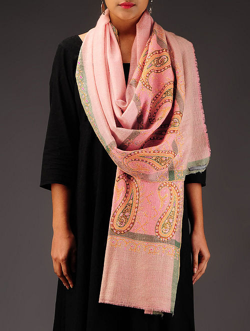 Pink-Green Pashmina Hand Embroidered Stole