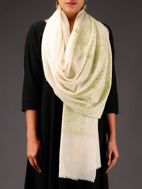 Ivory-Lime Pashmina Hand Embroidered Stole