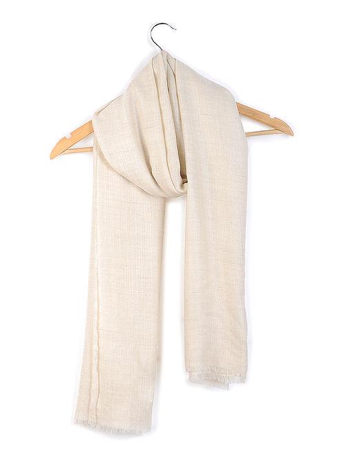 Ivory Organic Pashmina Stole with Fishbone Weave