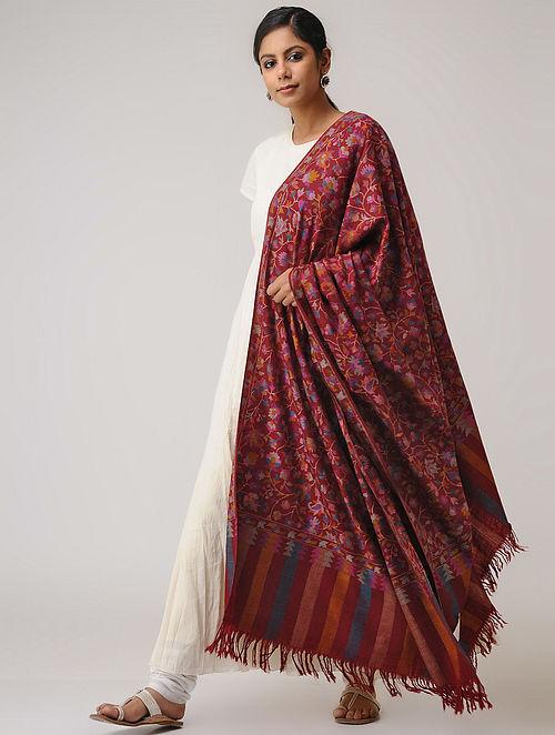 f8b98d3987 Buy Maroon-Blue Kani Pashmina Shawl Online at Jaypore.com
