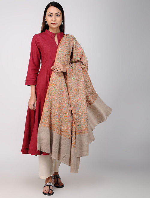 Grey-Red Sozni-embroidered Pashmina/Cashmere Shawl