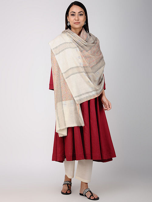 Grey-Ivory Sozni-embroidered Pashmina/Cashmere Shawl