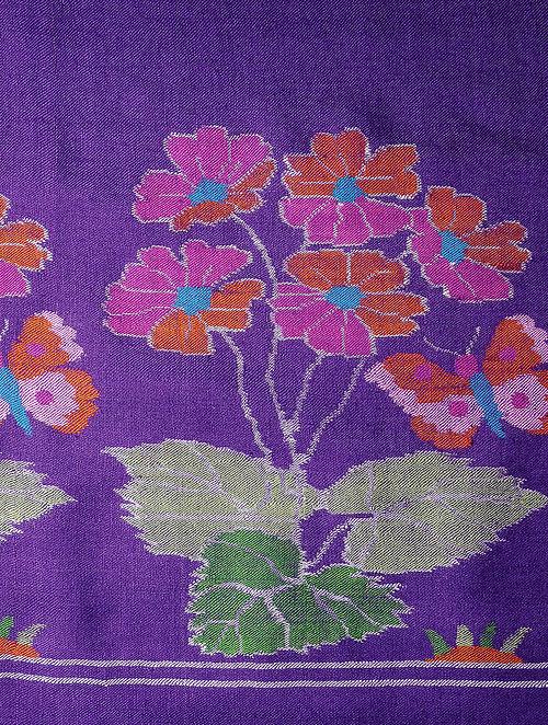Purple-Red Pashmina Cashmere Kani Shawl