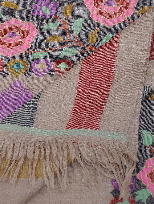 Grey-Pink Pashmina/Cashmere Kani Shawl