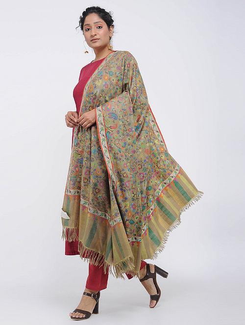 Beige-Blue Pashmina/Cashmere Kani Jamawar Shawl