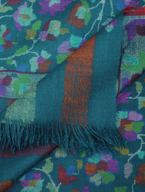 Blue-Green Pashmina/Cashmere Kani Jamawar Shawl