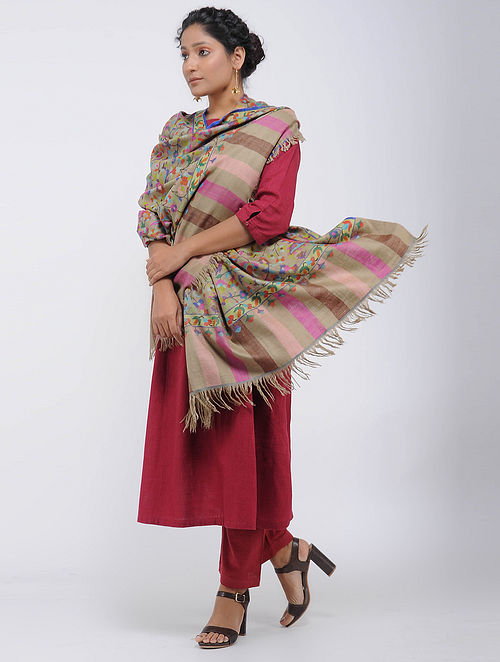 Beige-Pink Pashmina/Cashmere Kani Jamawar Shawl