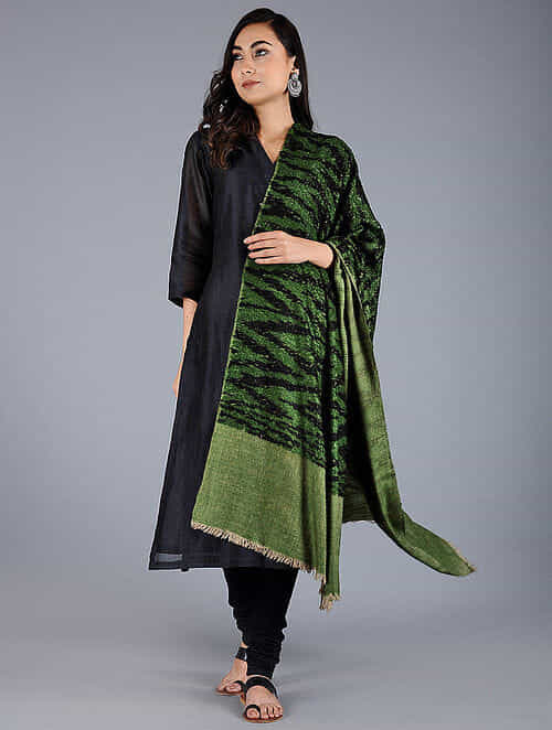 Green-Black Pashmina Pelt shawl