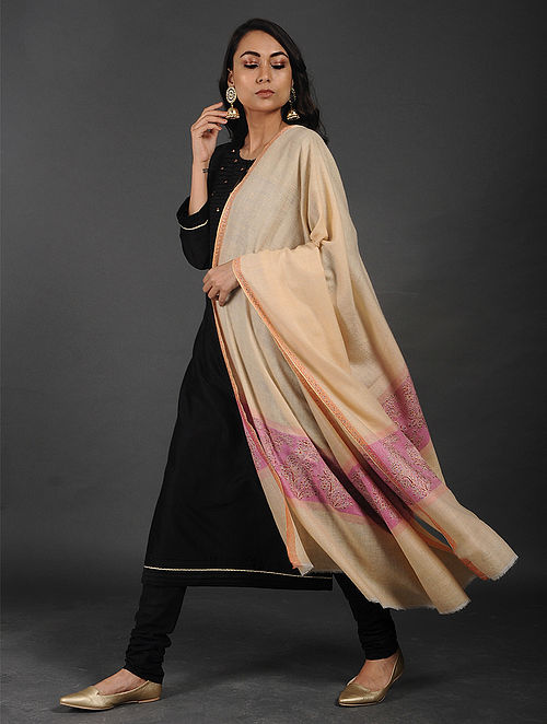 Beige-Pink Sozni-embroidered Pashmina/Cashmere Shawl