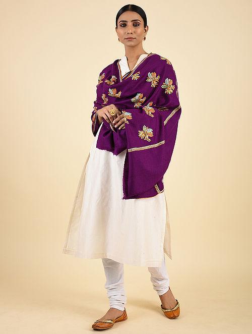 Purple Handwoven Sozni Embroidered Pashmina Cashmere Shawl