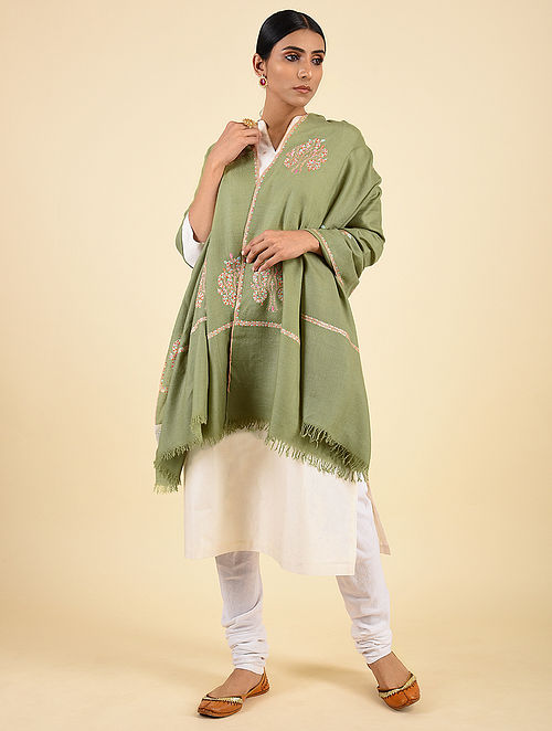Green Handwoven Sozni Embroidered Pashmina Cashmere Shawl