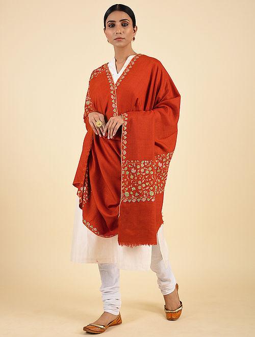 Orange Handwoven Sozni Embroidered Pashmina Cashmere Shawl