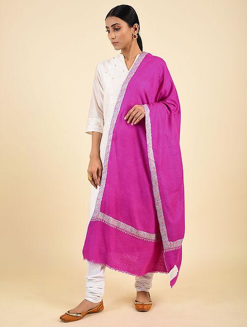 Fuchsia Pink Handwoven Sozni Embroidered Pashmina Cashmere Shawl