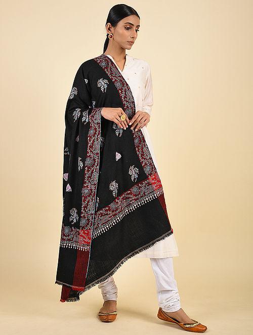 Black Handwoven Sozni Embroidered Pashmina Cashmere Shawl