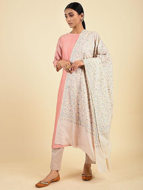 Cream Handwoven Sozni Embroidered Pashmina Cashmere Shawl