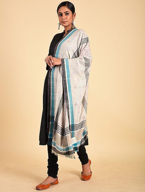 Ivory-Blue Sozni Embroidered Pashmina Stole