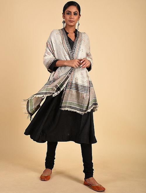 Ivory-Black Sozni Embroidered Pashmina Stole