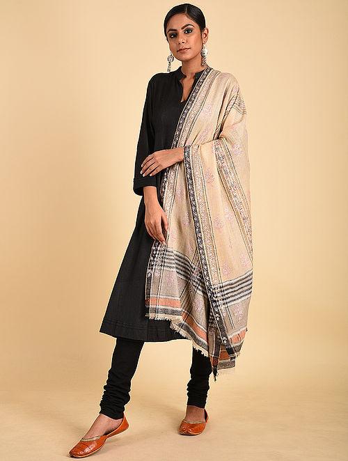 Beige-Black Sozni Embroidered Pashmina Stole