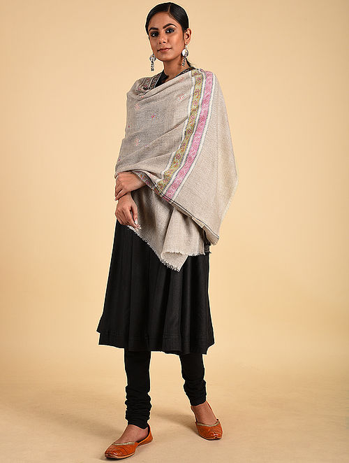 Grey Sozni Embroidered Pashmina Stole