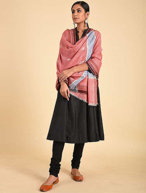 Pink-Blue Sozni Embroidered Pashmina Stole