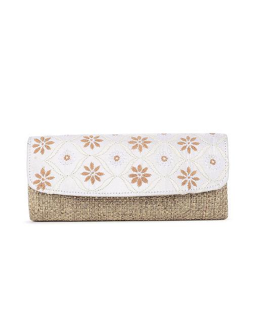 White-Beige Handcrafted Juteand Dupion Envelope Clutch with Chikankari Work