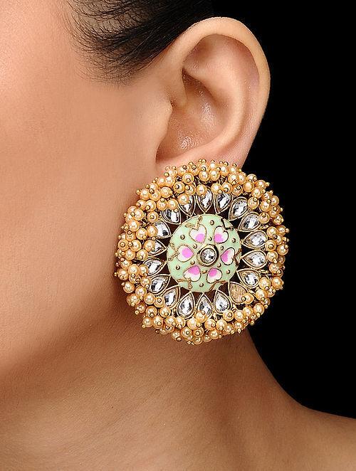 4ba0f86dd Buy Green-Pink Handcrafted Meenakari Stud Earrings Online at ...