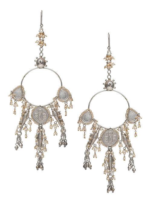Pan Buta Silver and Gold Jadau Polki Diamond Earrings with Pearls