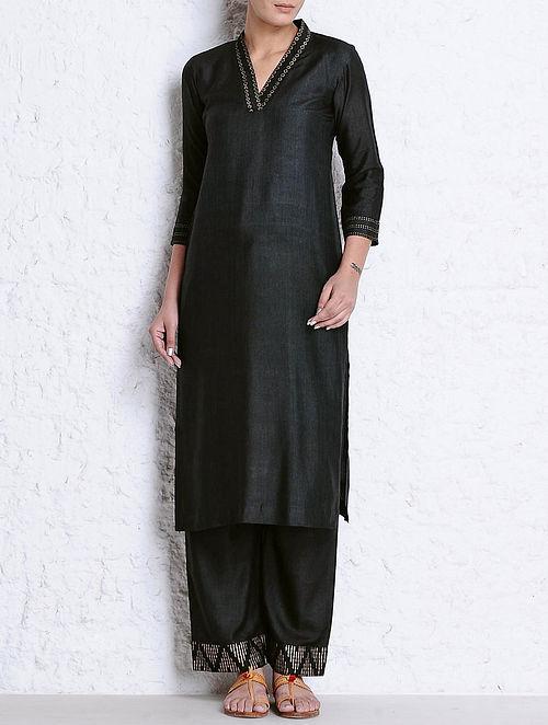 Black Golden Khari Hand Block printed V-Neck Tussar Cotton Kurta