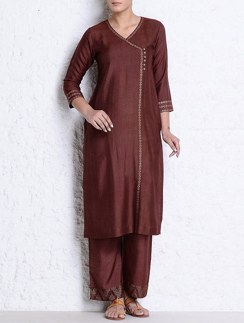 Rust-Golden Khari Hand Block Printed Tussar Cotton Kurta