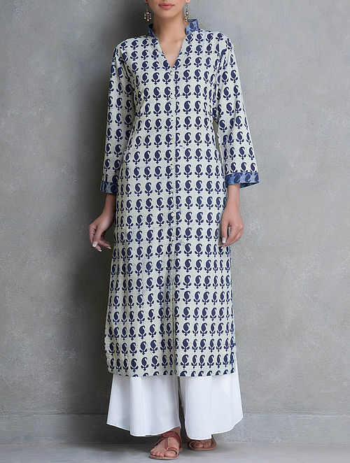 Indigo Mandarin Collar Button Down Dabu Printed Cotton Kurta by Lavanya