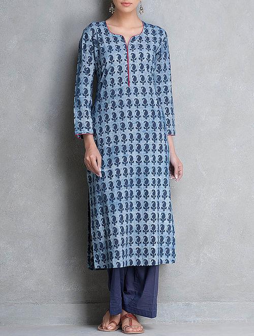 Indigo Dabu Printed Cotton Kurta by Lavanya