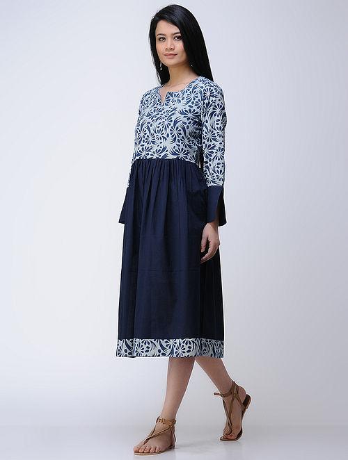 Indigo-Ivory Dabu-printed Cotton Dress