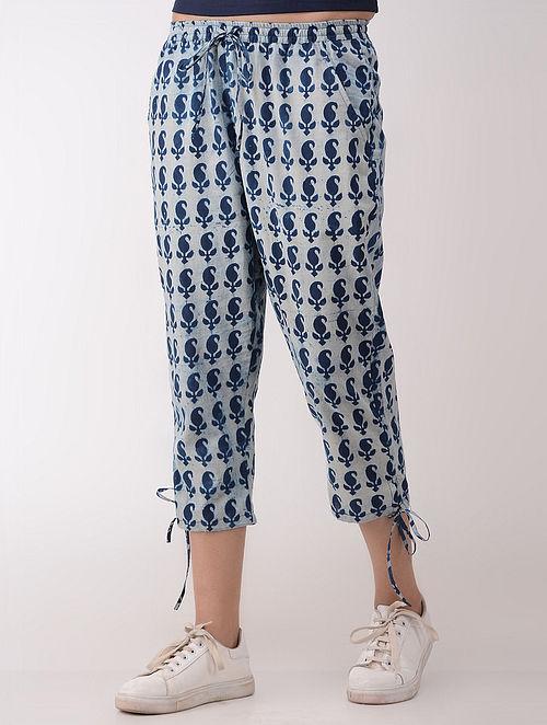 Blue-Ivory Dabu-printed Tie-up Elasticated Waist Cotton Capri