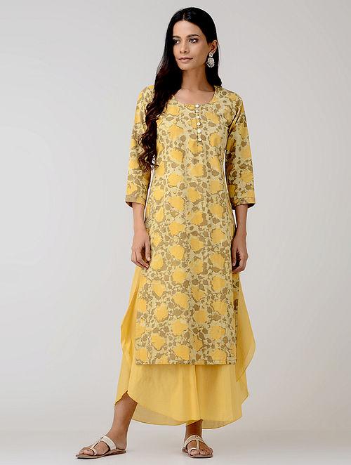 Yellow Dabu-printed Cotton Kurta