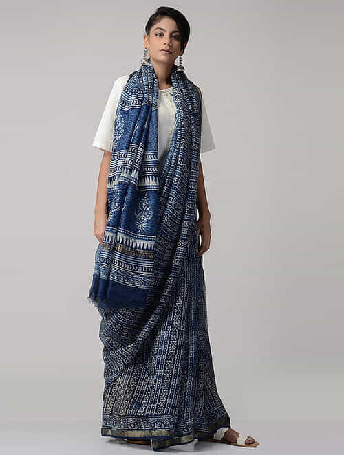 d1b829c97dadda Indigo-White Dabu-printed Kota Silk Saree with Zari Border Printed Sarees